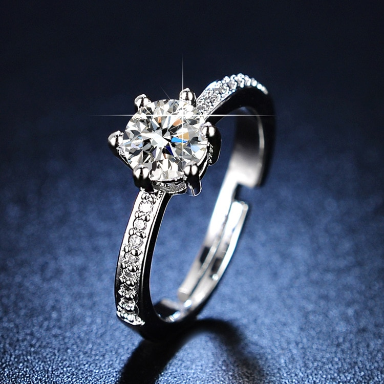 925 Sterling Silver Jewlery Diamond Rings for Women Sterling Silver 925 Resizable Rings Women Jewelry