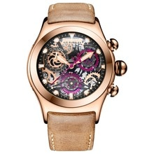 Reef Tiger/RT Skeleton Sport Watches for Men Rose Gold Luminous Quartz Watches Genuine Leather Strap