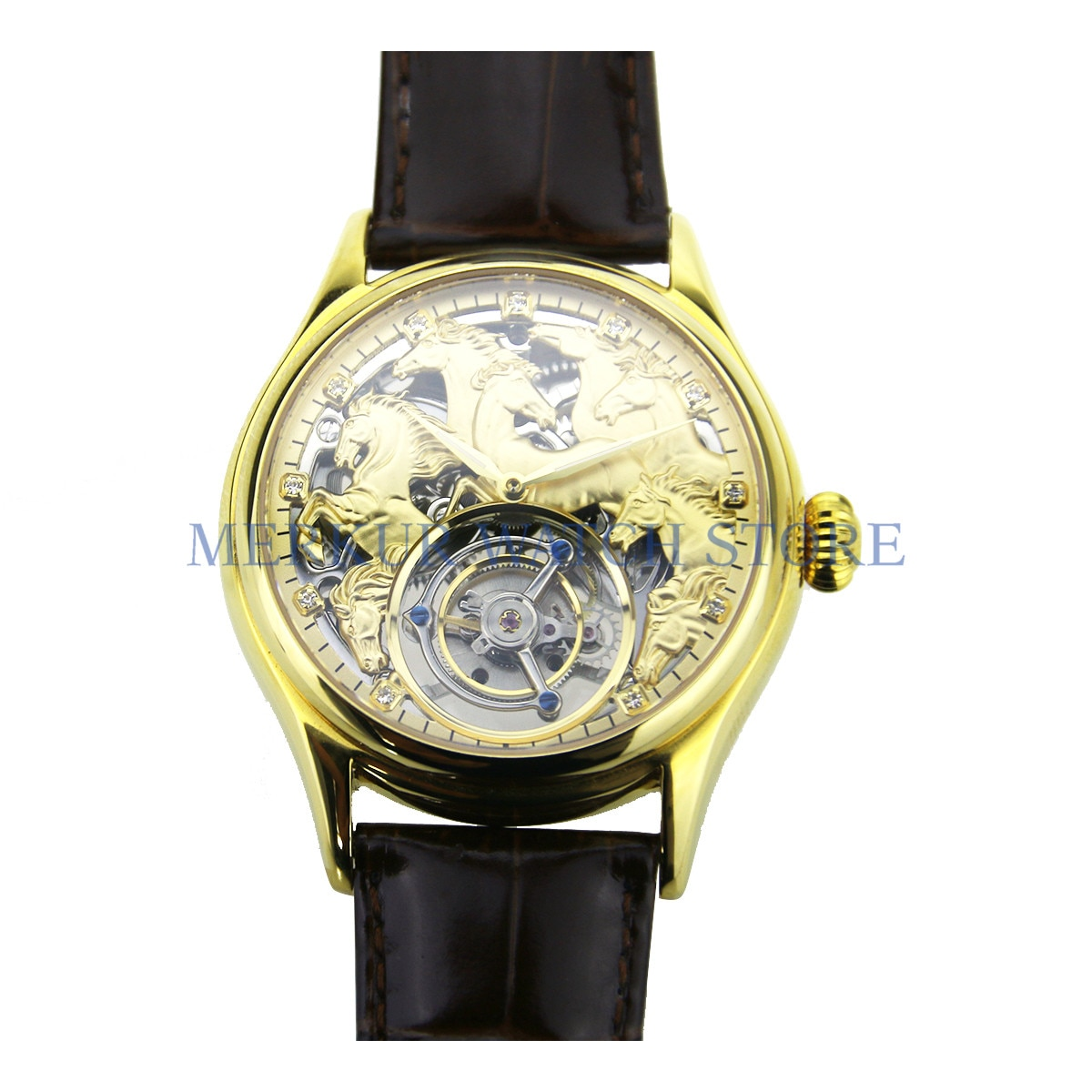 ميركور رجالي ساعة ميكانيكية تيانجين هانغتشو عالية فاز توربيون سكيلينتون 1