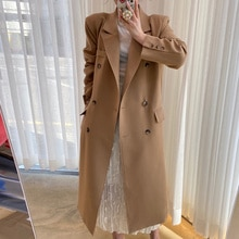Korean Cardigan Coat Autumn And Chic Winter French Lapel Double Breasted Loose Knee Length Long Slee