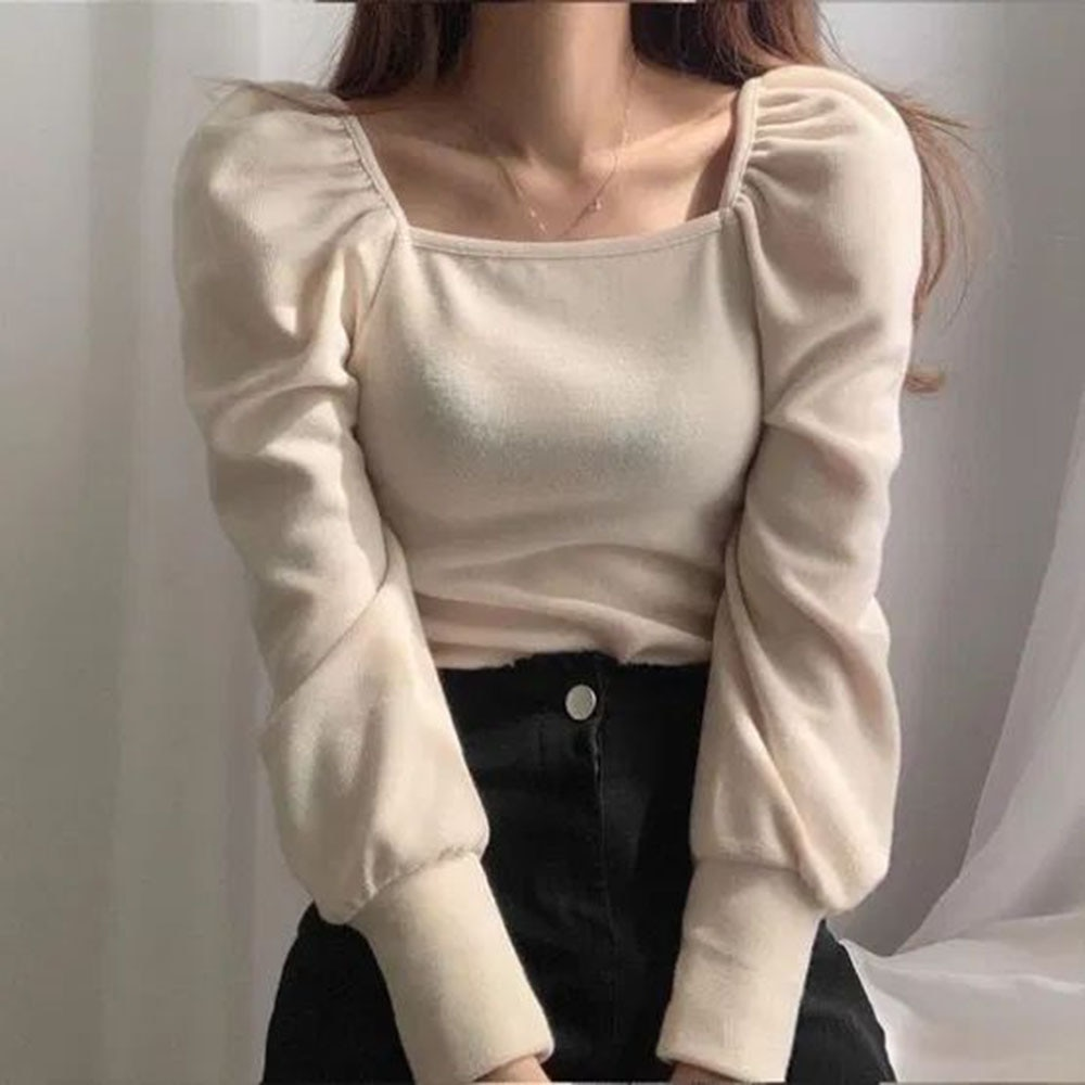 New Autumn Women's Thick T-shirt Trendy Fashion Small Fresh Style Solid Color Long-sleeved Square Ne