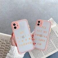 kanye pablo color text pattern phone case for iphone 12 11 mini pro xr xs max 7 8 plus x matte transparent pink back cover