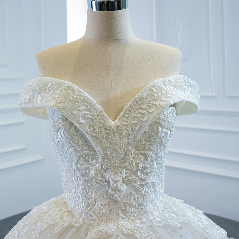 RSM66641 Luxury Elegant White V-neck Wedding Dress 2021 Draped Backless Applique Print Pattern Long Trailing Skirt