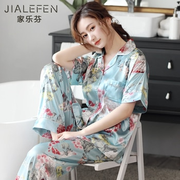 Pajamas Women's Summer Ice Silk Short Sleeve Trousers Homewear Summer Thin Artificial Silk Floral Middle-Aged Mother
