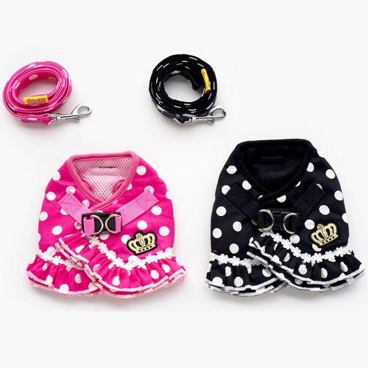 kitten harness pet leash cat harness outdoor walk for small cat puppy chihuahua pet harness leash cat products Pet Dog Cat Adjustable Harness Leash For Small Dog Cat Puppy Polka Dots Pet clothes chest harness vest cat leash Pet Supplies