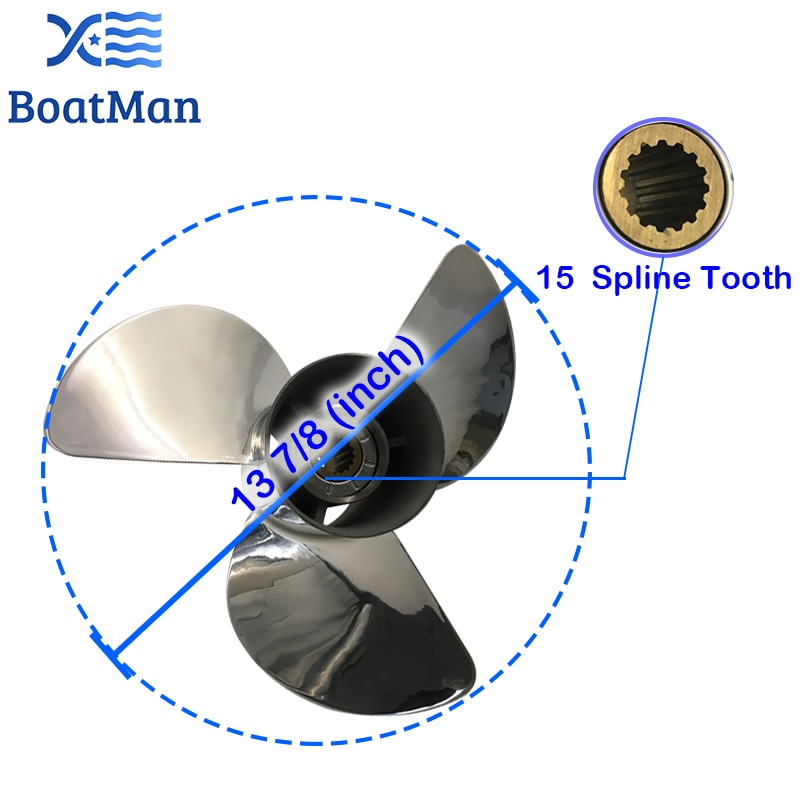 Outboard Propeller 13 7/8x21 For Yamaha 50HP 60HP 80HP 85HP 90HP100HP130HP Stainless steel 15 splines Boat Parts & Accessories enlarge
