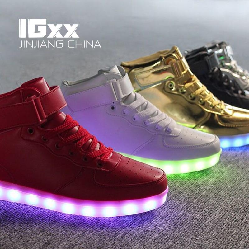 IGxx Adult LED Shoes For Men LED Light Shoes Women Glowing Luminous LED Kids Shoes LED High LED Sneakers USB Recharging