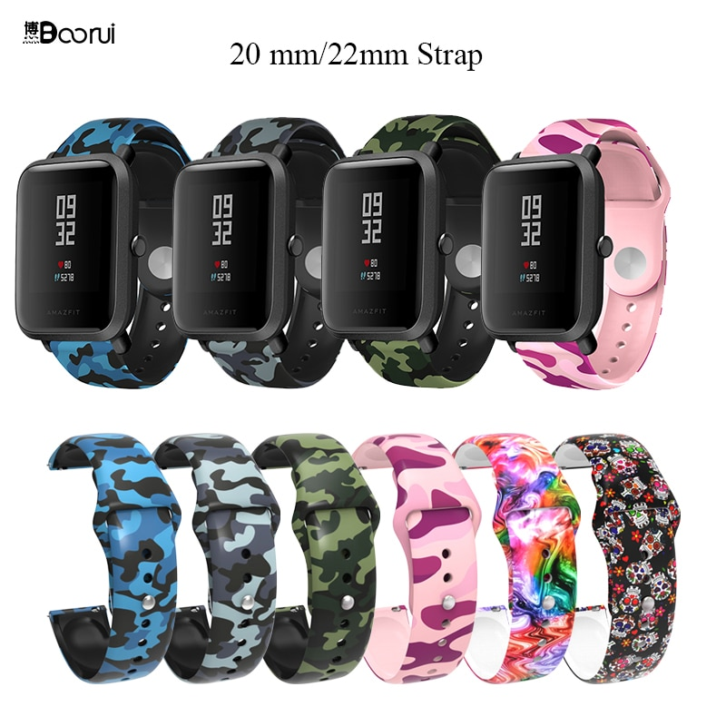 BOORUI pulsera amazfit bip correa de silicona 20mm reloj correa para xiaomi huami amazfit bip pace lite cinturón 20mm