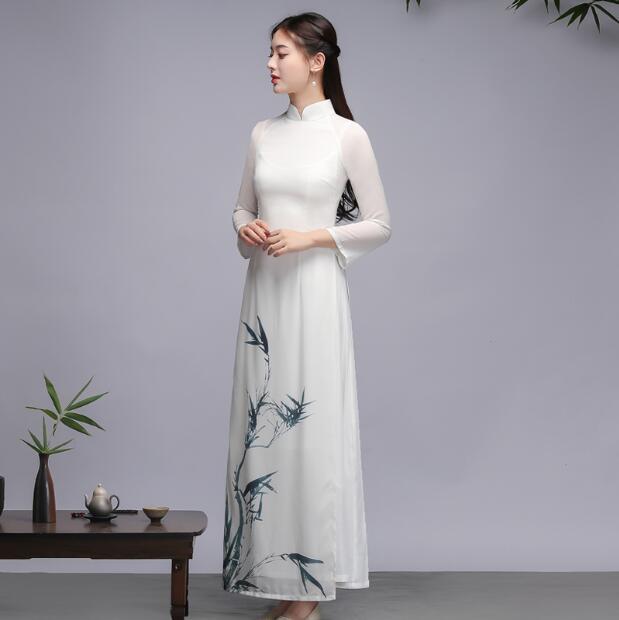 فستان طويل من خشب البامبو ، فستان تقليدي ، نسائي ، ربيع ، شيونغسام ، تشيباو ، عتيق ، طباعة