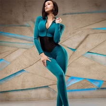 DROZENOStitching zipper solid color stand-up collar long-sleeved bodysuit suit European and American