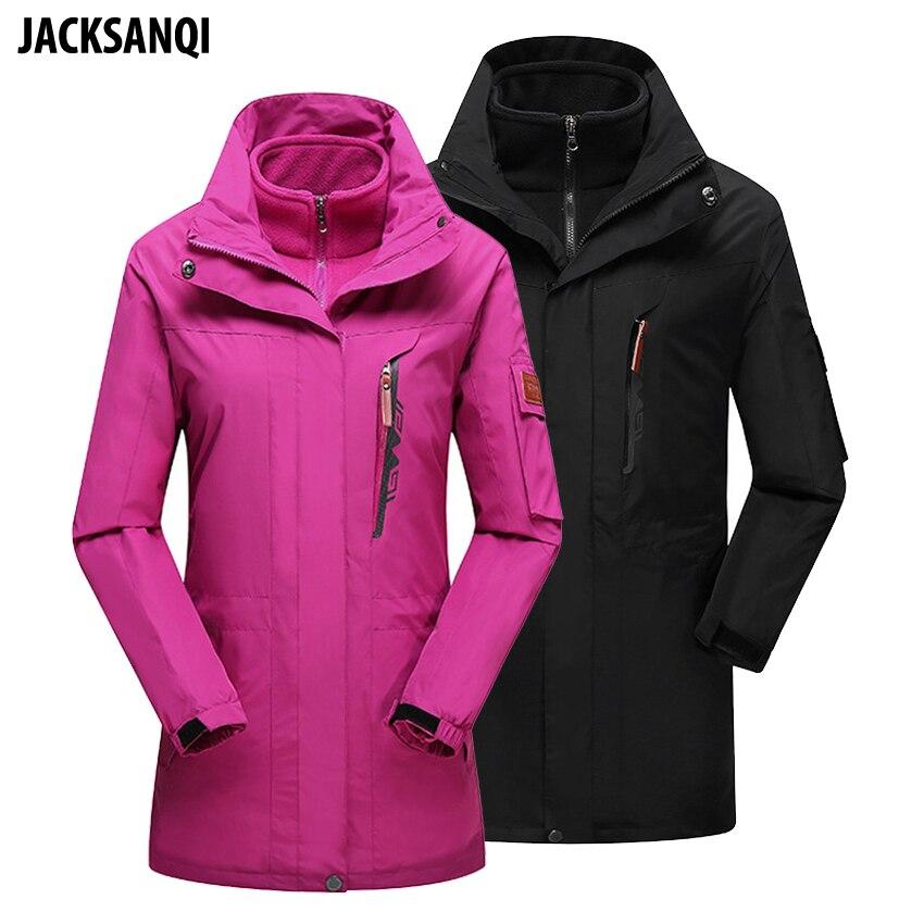 JACKSANQI de las mujeres de los hombres de Invierno 2 piezas de lana polar Softshell chaquetas al aire libre a prueba de viento senderismo Camping Trekking térmica Hombre Abrigos RA322