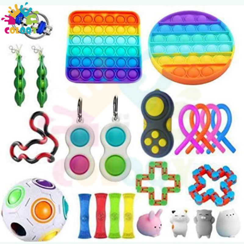 COLOQY 4 Fidget Toys Pop it Sensory Antistress Toy Pack Squishy Squish mallow Decompression Stress Reliever Toy For Adults Kids enlarge