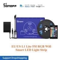 SONOFF L1 Lite 5M RGB Wifi bande de lumiere LED intelligente ue etats-unis minuterie controle de groupe danse avec de la musique  avec Alexa Google Assistant a la maison