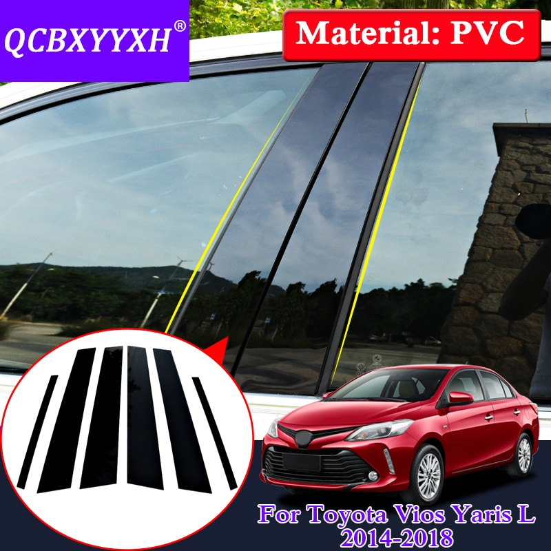 QCBXYYXH Car Styling Window Trim For Toyota Vios YarisL 2014-2018 PVC Glass Window Garnish Pillar Middle Sticker Decoration Film