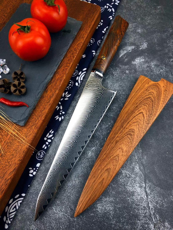 1 Uds. Cuchillo de cocinero Damasco VG10 de acero de 8 pulgadas, cuchillo profesional japonés Kiritsuke Gyuto cuchillo de cocina para cortar cuchillos de cocina