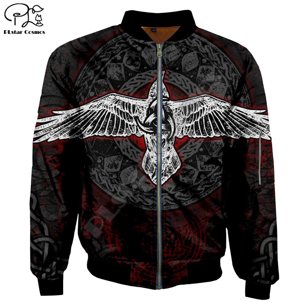 Mens zipper Bomber Jackets indian viking tattoo 3D Print Long Sleeve Flight Jacket Thick Casual unisex Harajuku women Streetwear