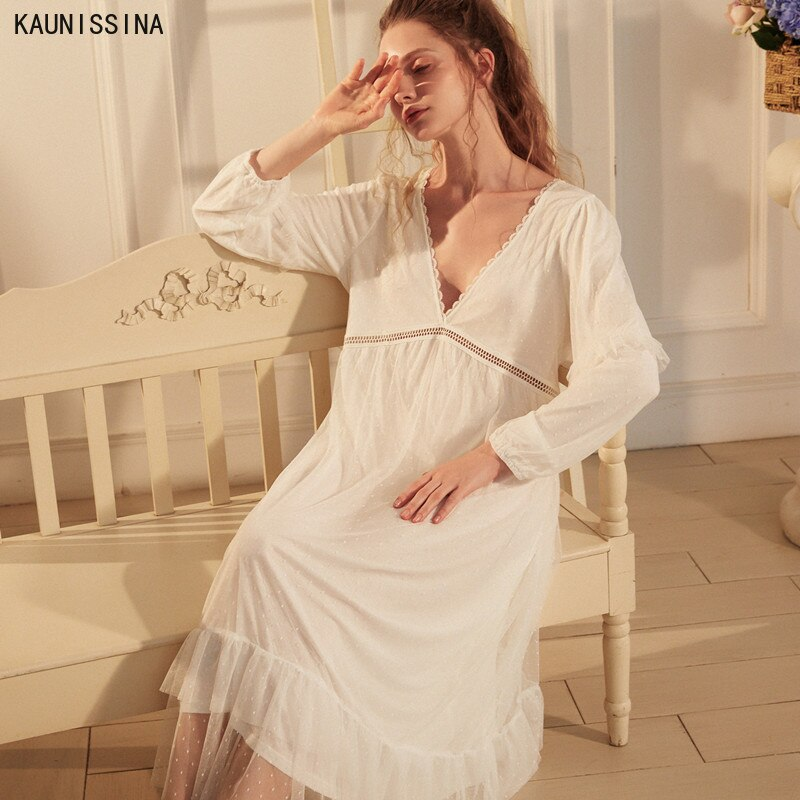 Vitoriano Sexy Desgaste Do Sono Profundo Decote Em V Vestido de Noite Do Vintage Camisola de Manga Comprida Camisola de Renda Branca Sleepwear Mulheres Camisola