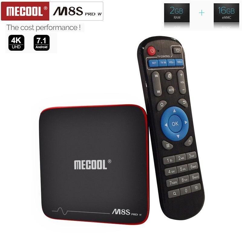 Mecool m8s pro w smart tv caixa amlogic s905w quad core 2gb ddr3 16gb rom 4k h.265 hd 2.4g wifi 100lan android 7.1 conjunto caixa superior