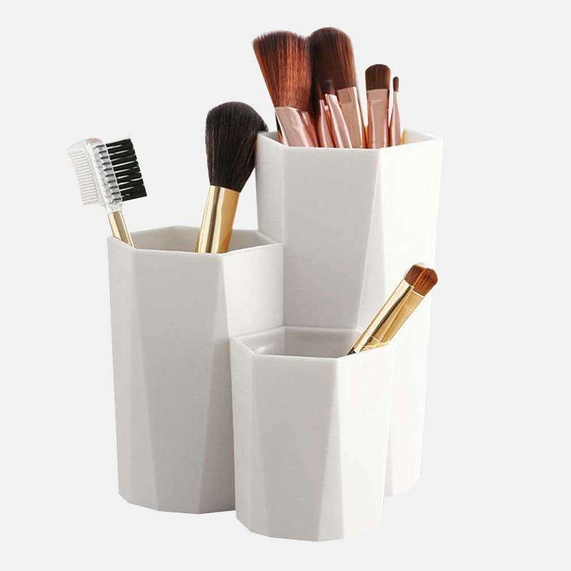 3 qəfəs kosmetik makiyaj fırçası saxlama qutusu, kosmetik makiyaj alətləri tutucusu, qələm tutucu rəf, masa təşkilatçısı