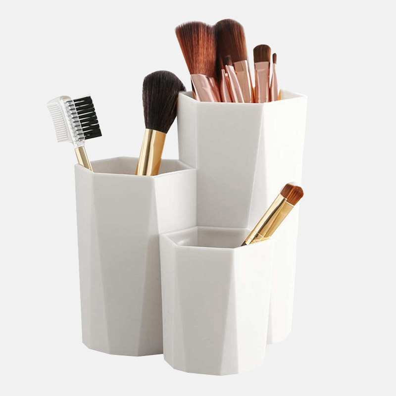 Kotak penyimpanan berus kosmetik 3 kisi, pemegang alat solekan kosmetik, rak pena, penyusun meja