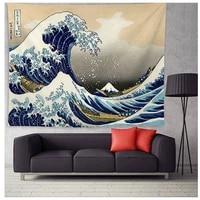 lism japan kanagawa waves printed hanging tapestry whale arowana wall hanging tapestries boho yoga mat blanket 200148cm