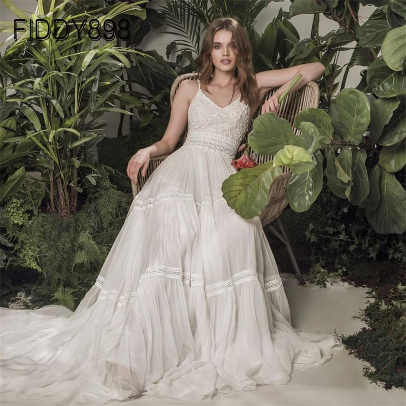 FIDDY898 Vintage A Line Wedding Dress For Bride Elegant Strap Custom Dress Lace Sexy Bridal Gown vestido de novia Robe Marriage