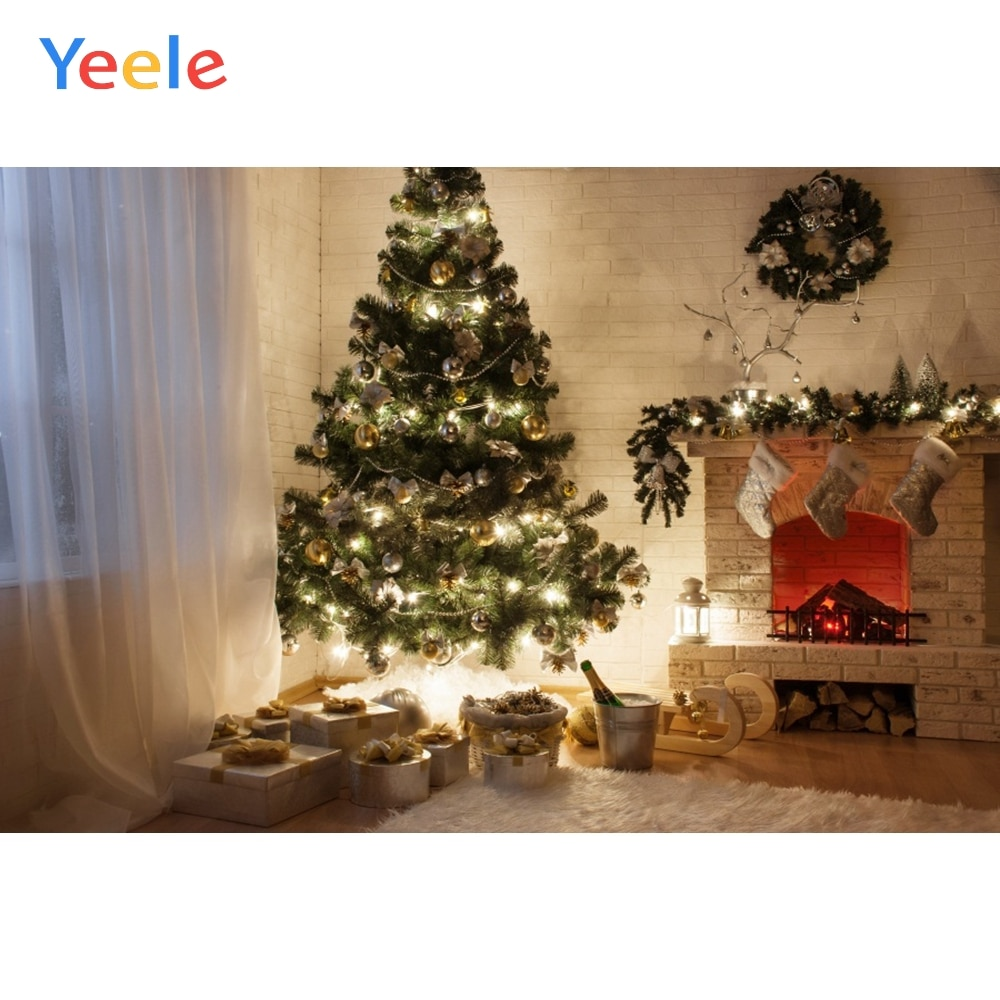 christmas backdrop fireplace christmas tree decoration photography background white brick wall photocall background photo studio Christmas Tree Sock Light Fireplace Wreath Home Decoration Backdrop Photography Custom Photographic Background For Photo Studio