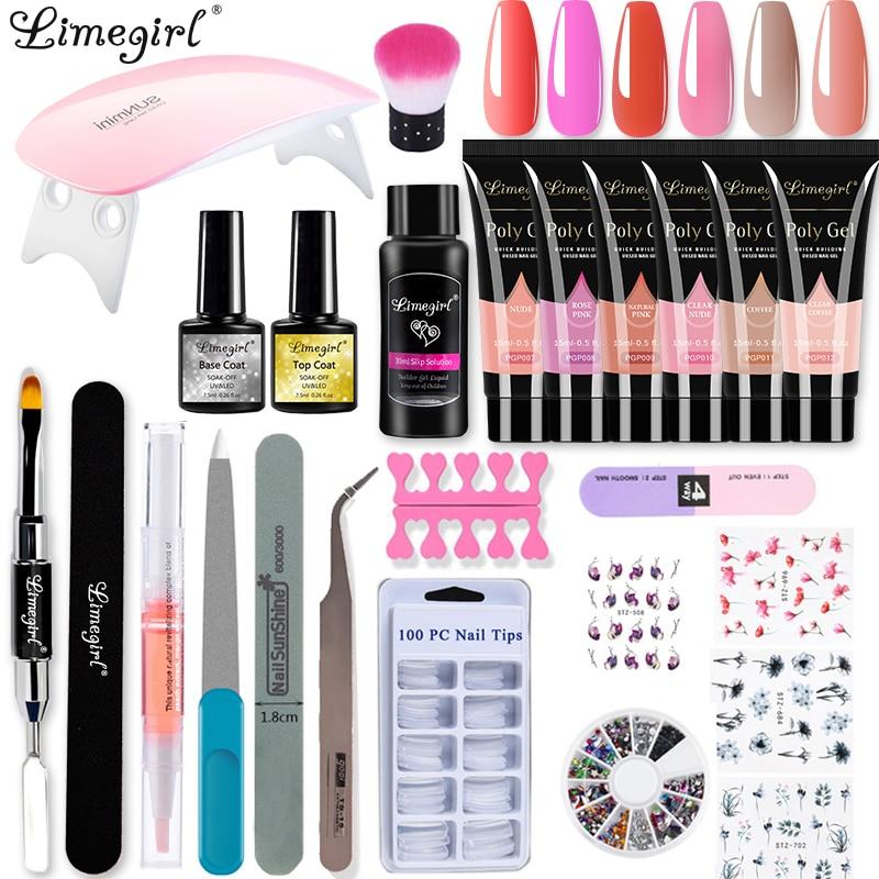 Limegirl Poly UV Gel Kit Lamp Gel Polish Set All for Manicure Nails Art Gel Glitter For Nail Extensions Tool Kit Professional