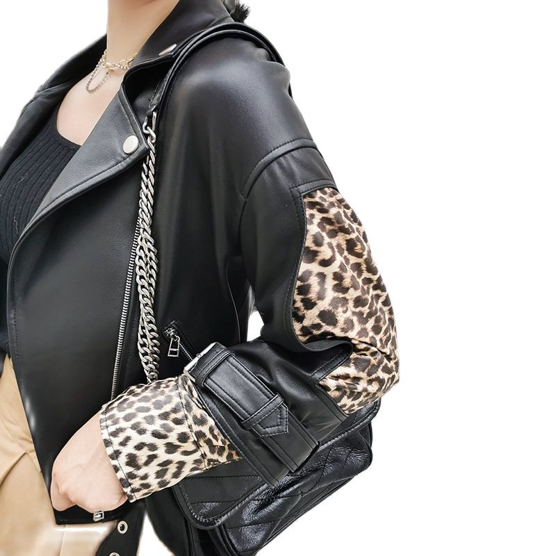 women's Sheep Leather jackets women's Spliced Panther Sleeve leather coats Locomotive Leisure real leather jackets moto jacket enlarge