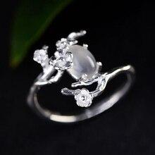 S925 argent design original incrusté clair de lune blanc calcédoine prune ouverture réglable bague pour femme pour envoyer un cadeau dami