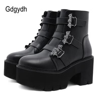 gdgydh metal decoration bat demonia boots women platform heels black gothic ankle strap belt buckle ladies short boots plus size