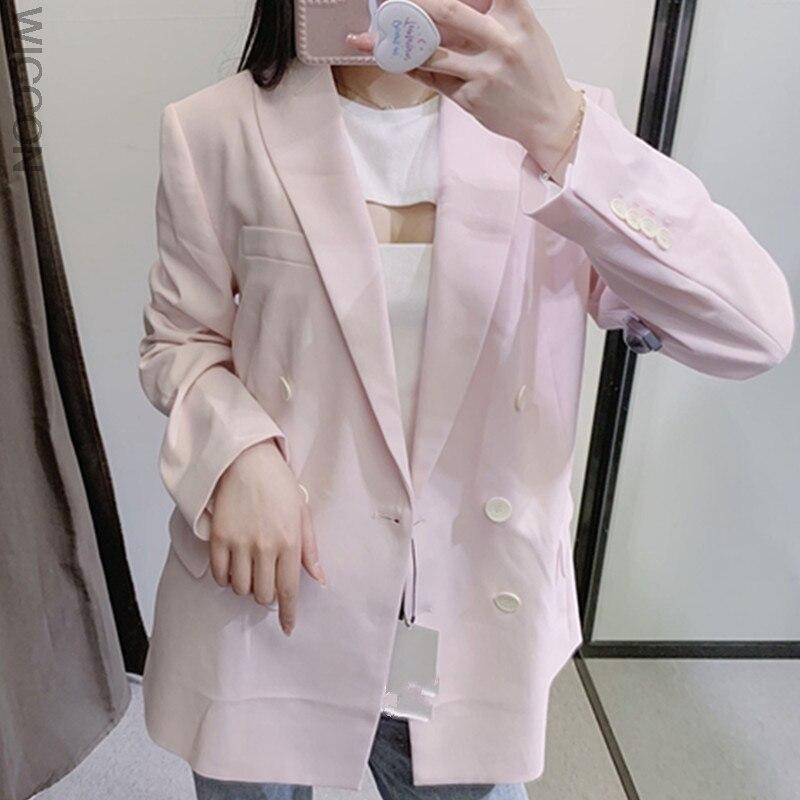معطف نسائي موضة 2021 بأزرار ثنائية الصدر بأكمام طويلة وفتحات للظهر ملابس خارجية نسائية أنيقة