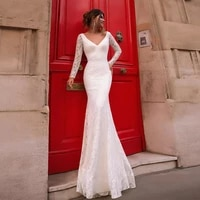 modest mermaid wedding dress 2021 classic lace bridal dresses v neck long sleeves sweep train wedding gowns
