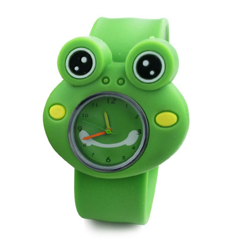 Digital Slap Watch Cute Frog Slap Watches Cute 3D Cartoon Animal  for Boys Girls Gifts Kids Green Qu