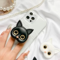 stereo 3d cute cat mirror mobile phone foldable bracket paste portable makeup mirror selfie ring portable and simple