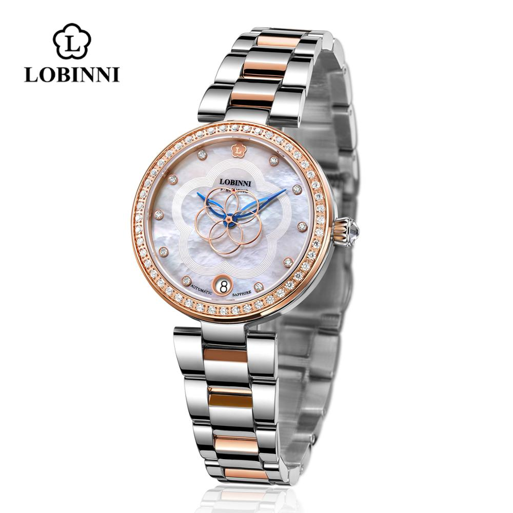 Reloj Mecánico japonés mecanismo MIYOTA para mujer, relojes de mujer con espejo de zafiro a prueba de agua, reloj de cuero de moda de acero inoxidable para mujer