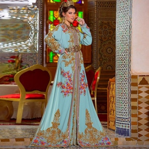 Sky Blue Moroccan Caftan Evening Dress Elegant Long Sleeves Dubai  Evening Pageant Gown Summer Dress Special Occasion Gown