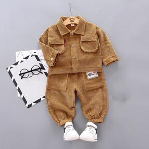 Baby Boys Clothing Korean Leisure Corduroy lapel Long Sleeved T-shirts + Pants 2PCS Outfits Kids Bebes Jogging Suits Children