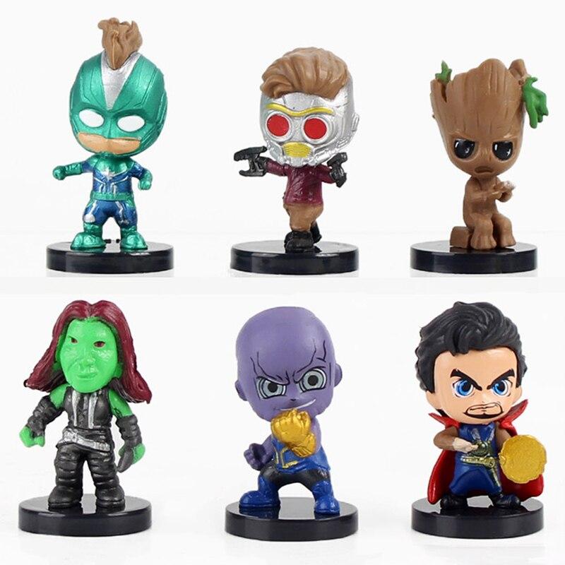 6 teile/los Endgame Avengers Figuren Thanos Arzt Seltsame Star Herr Gamora Kapitän Amerika Starforce Modell Spielzeug