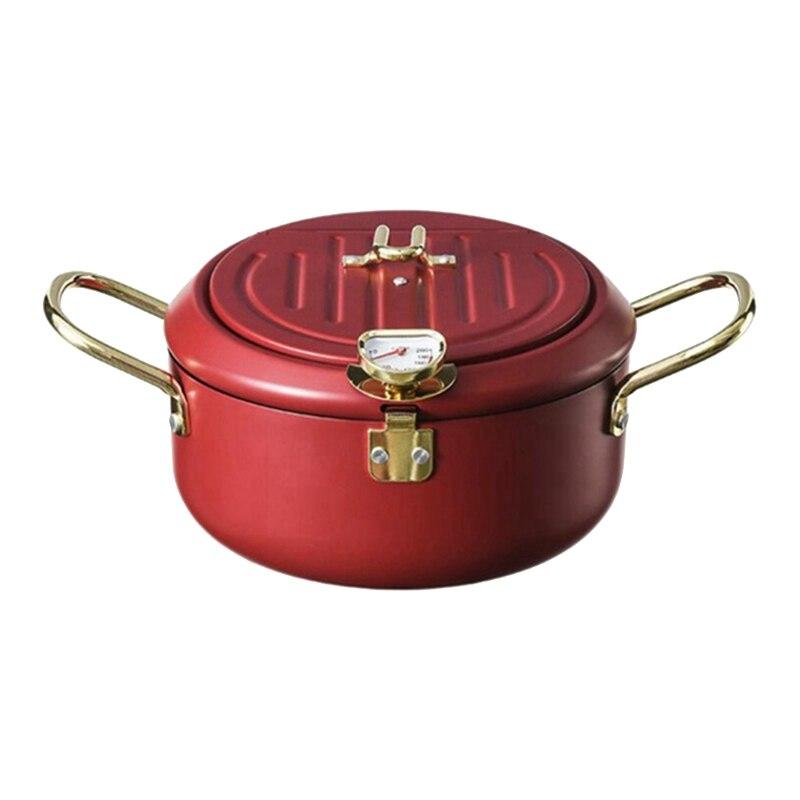 مقلاة عميقة للمطبخ مزودة بغطاء ومقياس حرارة مقلاة عميقة من Tempura غير لاصقة من الفولاذ المقاوم للصدأ