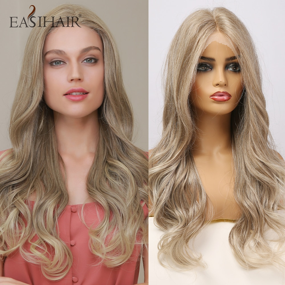 EASIHAIR-شعر مستعار صناعي مموج طويل للنساء ، شعر طبيعي ، مظلل رمادي ، كثافة عالية ، مقاوم للحرارة