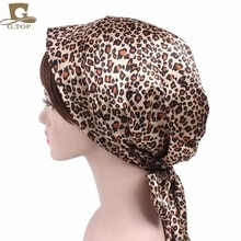 Écharpe de tête en Satin noir pour femmes   Bonnet de couchage soyeux, couvre-chef léopard pour femmes, Bonnet de cheveux