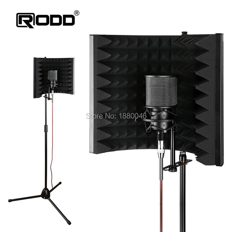 EMS, envío rápido, micrófono plegable, protector de aislamiento acústico, 2 pliegues con soporte, Panel de espuma acústica de aleación, grabación de estudio