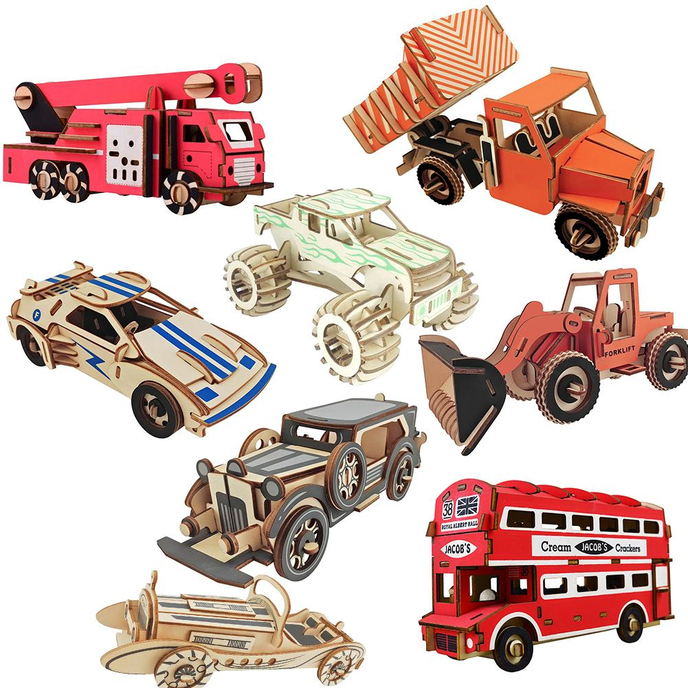 Madera pintada 3D Bus ambulancia coche rompecabezas DIY montaje juguete infantil educativo