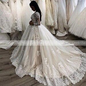 Royal Train Ball Gown Wedding Dresses Sheer Scoop Neckline Appliques Flowers Vintage Long Sleeves Bride Gowns Vestido De Noiva
