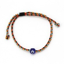 New Turkish Blue Eye Bead Charm Bracelet Handmade Red Black Cotton Cord Braid Adjustable Bracelet for Women Men Lucky Jewelry
