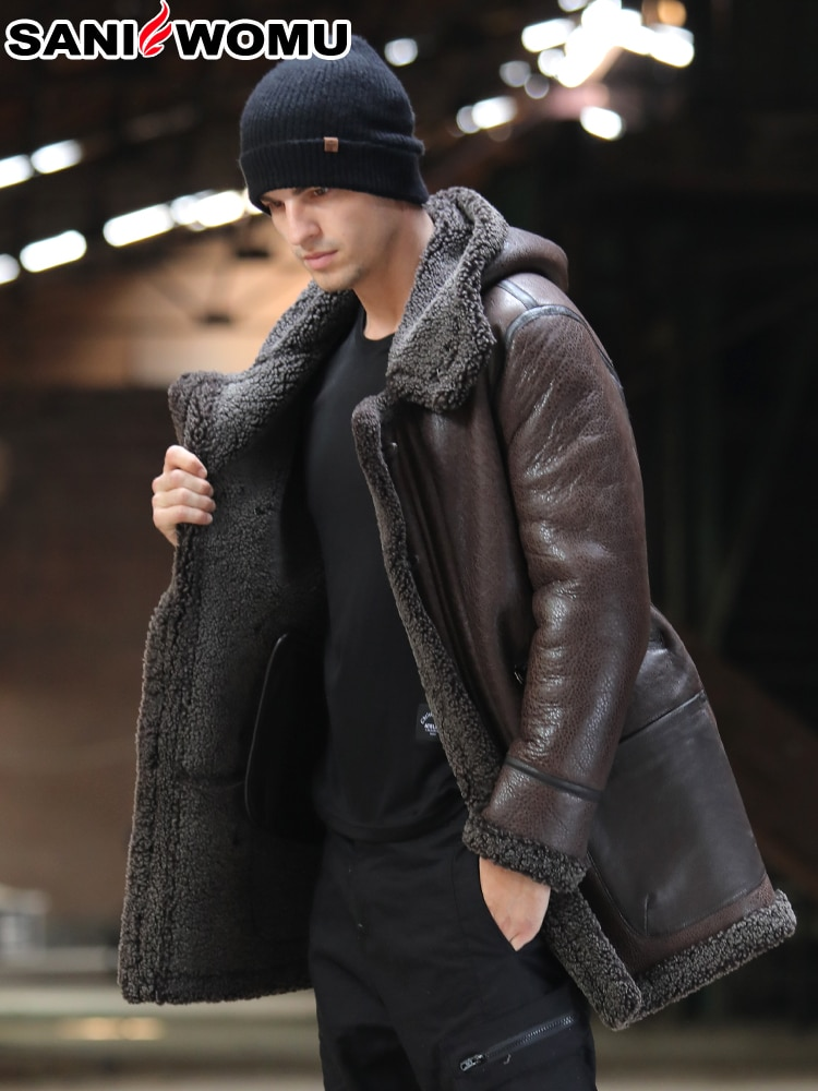 Abrigo de piel de doble cara para hombre abrigo de piel largo medio de moda abrigo grueso cálido para hombre chaqueta de cuero genuino abrigo de piel natural