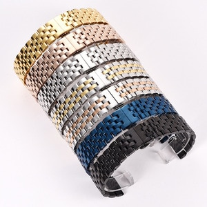 Fine Steel  arc Flat Head 12mm 14mm 16mm 18mm 20mm 22mm 24mm Stainless Steel Universal Solid Five Bead Watch Band