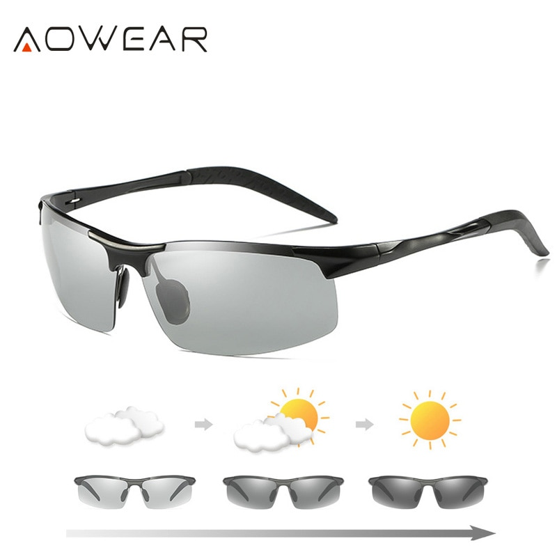AOWEAR Mens Photochromic Sunglasses Men Polarized Day Night Driving Chameleon Glasses Aluminium Magn