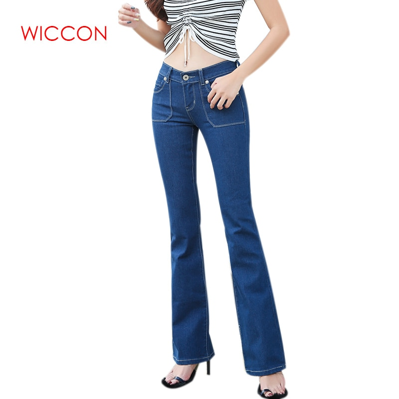 Women Flared Jeans High Waist Elegant Retro Style Bottom Skinny Denim Pants Female Sexy Casual Wide Leg Jeans